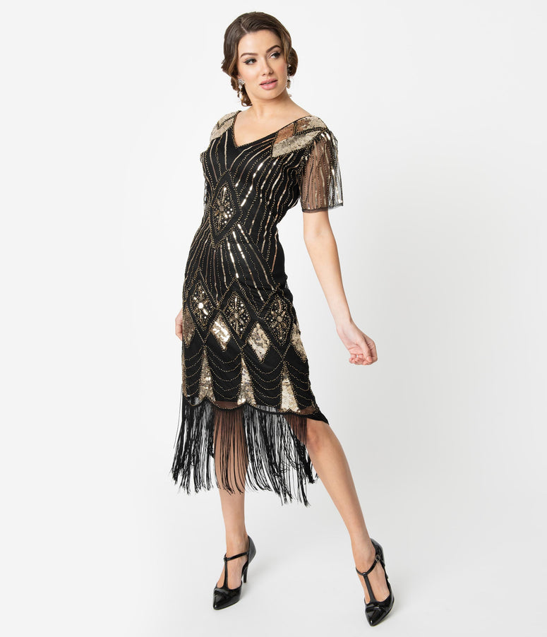 Unique Vintage 1920s Gold Sequin & Black Fringe Katriane Flapper Dress
