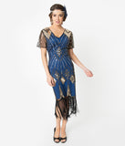 Unique Vintage 1920s Gold Sequin & Navy Fringe Katriane Flapper Dress