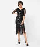 Unique Vintage 1920s Black Beaded Lynette Fringe Flapper Dress