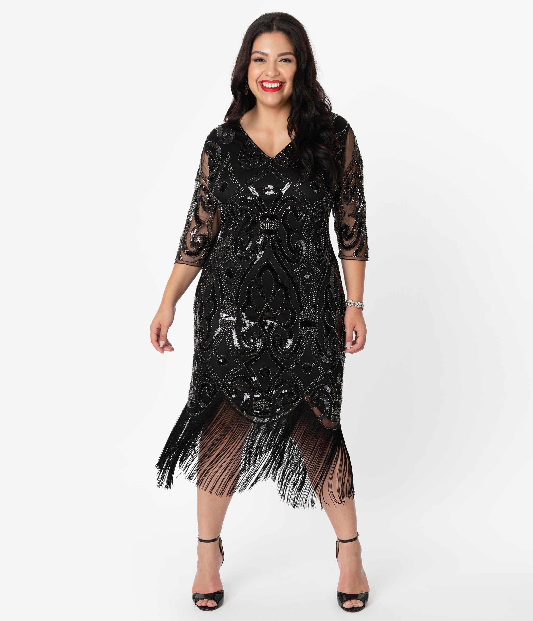 1920s Evening Dresses & Formal Gowns Unique Vintage Plus Size 1920S Black Beaded Lynette Fringe Flapper Dress $98.00 AT vintagedancer.com