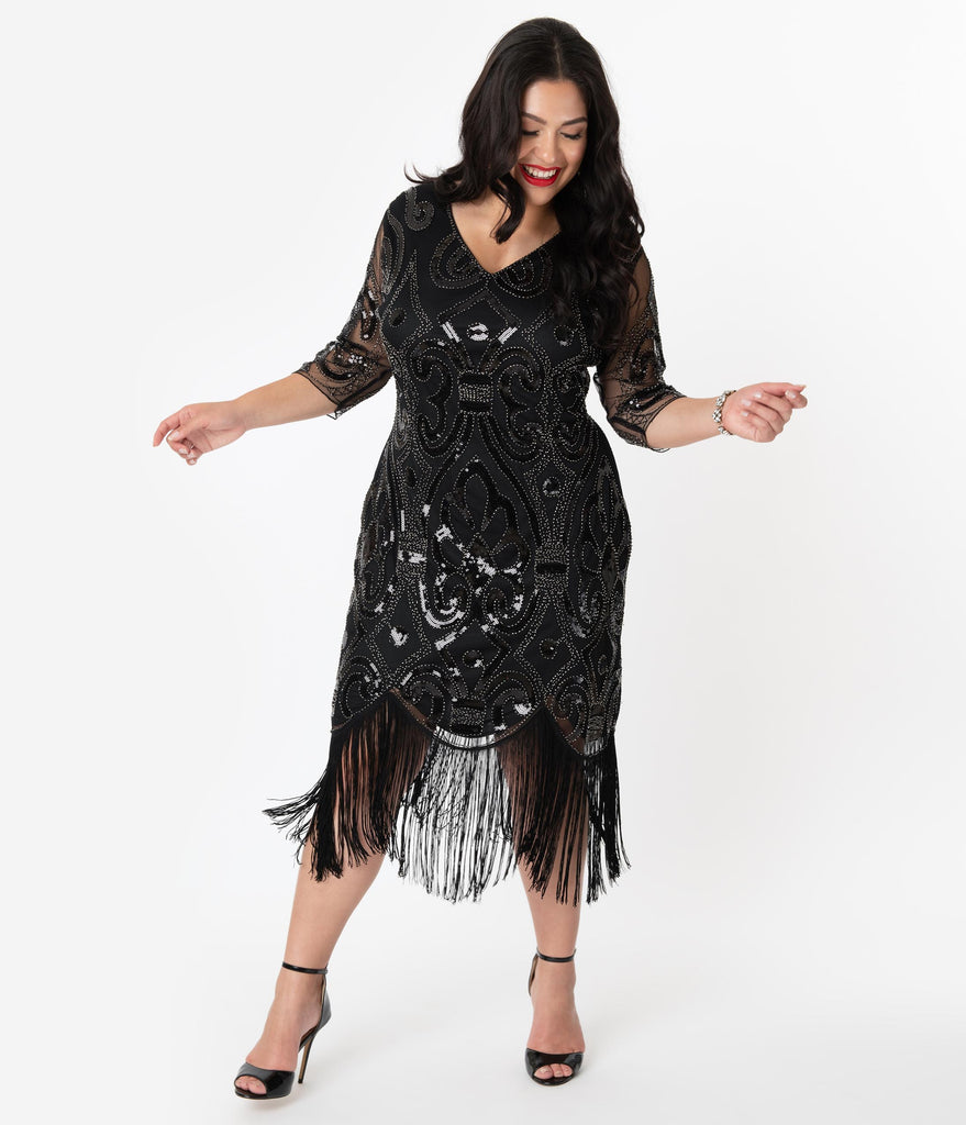 Unique Vintage Plus Size 1920s Black Beaded Lynette Fringe Flapper Dress