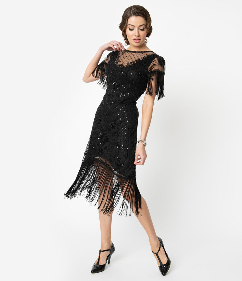 Unique Vintage 1920s Black Beaded Fringe Sleeve Nadine Flapper Dress