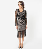 Unique Vintage 1920s Beige & Black Sequin Long Sleeve Odila Flapper Dress