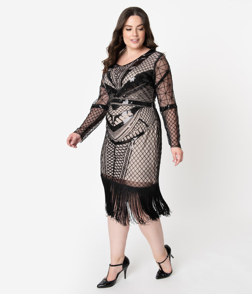 Unique Vintage Plus Size 1920s Beige & Black Sequin Long Sleeve Odila Flapper Dress
