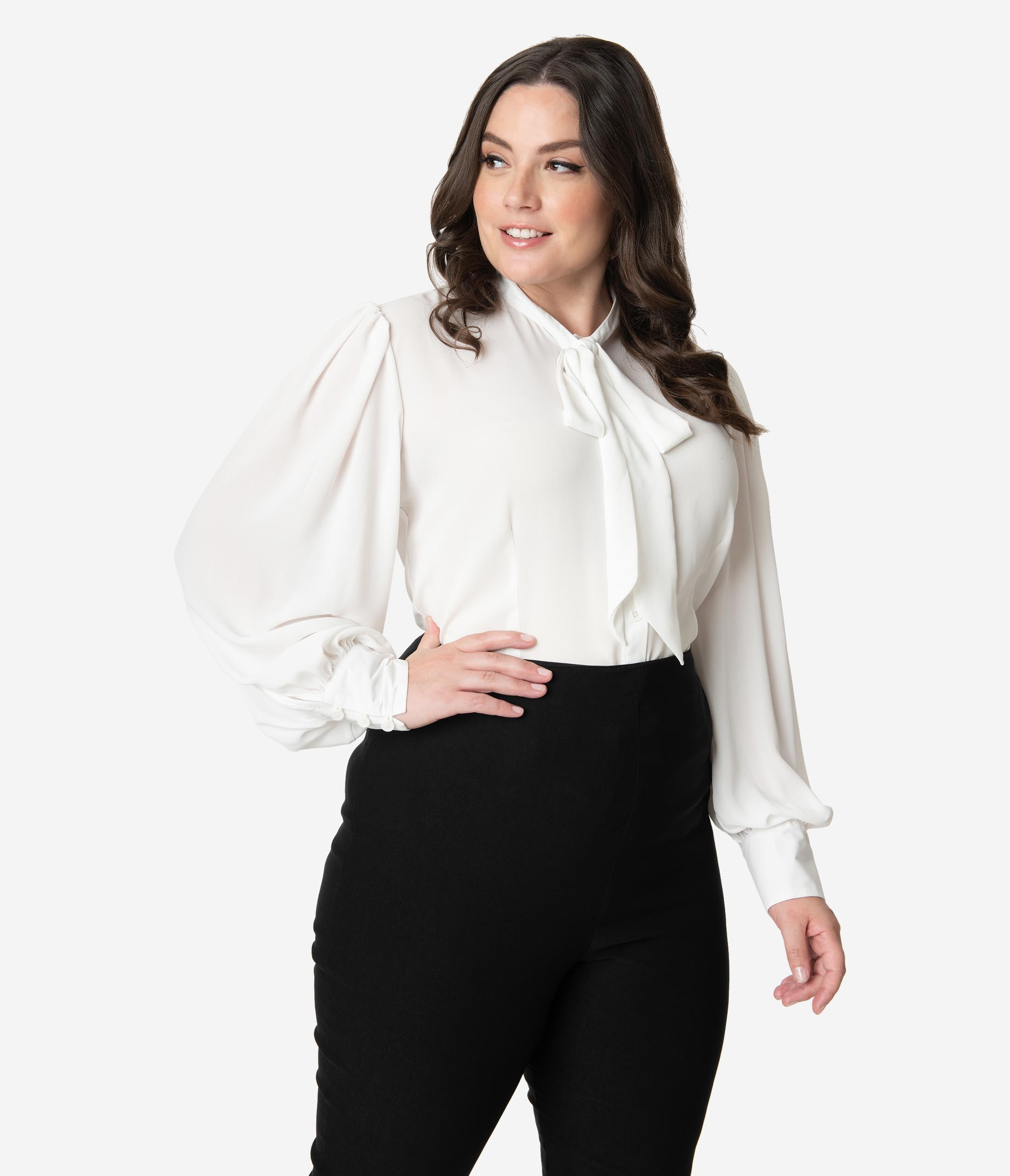 1940s Blouses and Tops Unique Vintage Plus Size White Neck Tie Gwen Blouse $58.00 AT vintagedancer.com