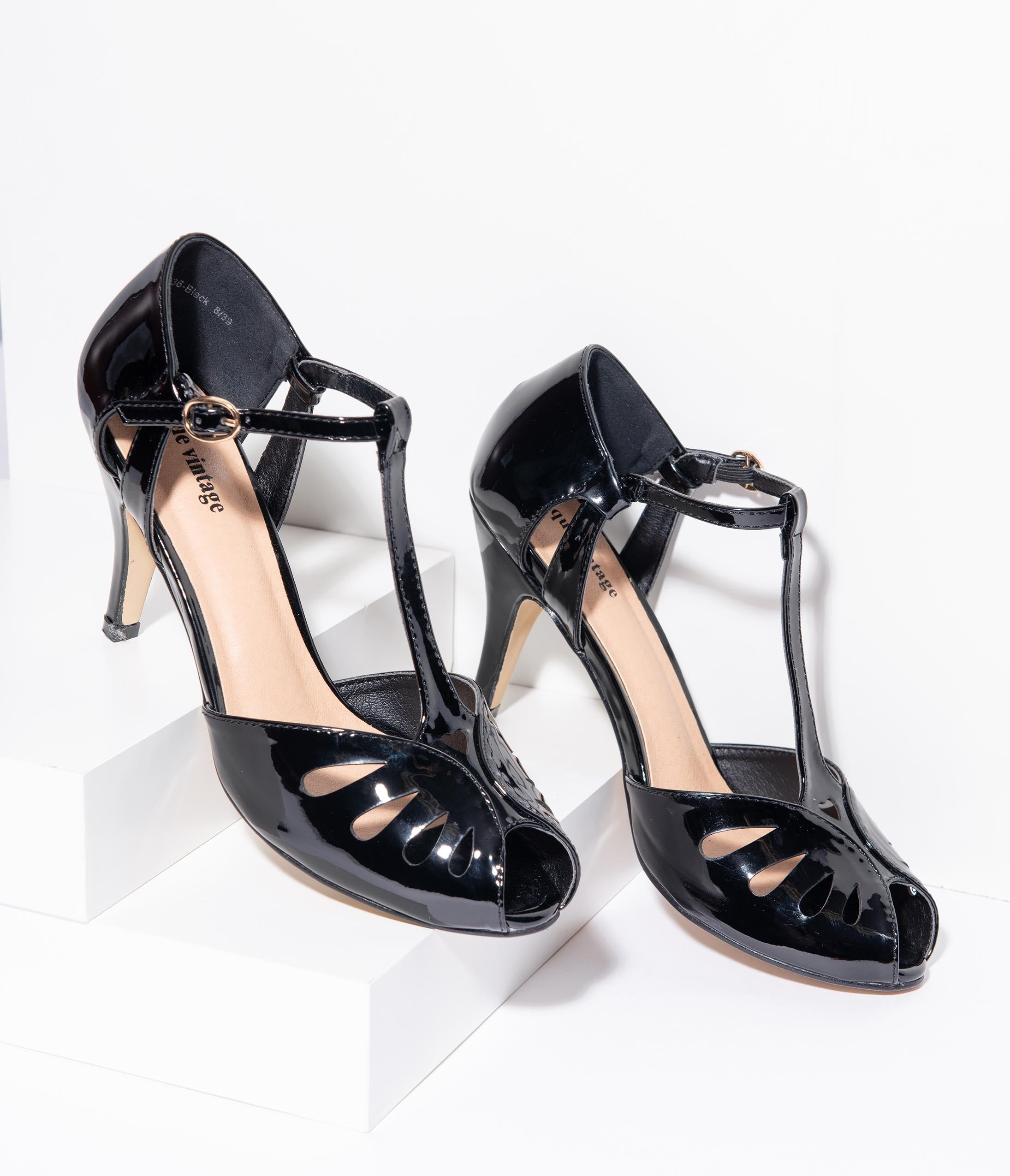 Vintage Style Shoes, Vintage Inspired Shoes Unique Vintage Black Patent Leatherette Peep Toe T-Strap Everly Pumps $48.00 AT vintagedancer.com