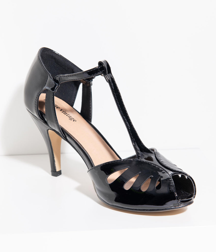 Unique Vintage Black Patent Leatherette Peep Toe T-Strap Everly Pumps