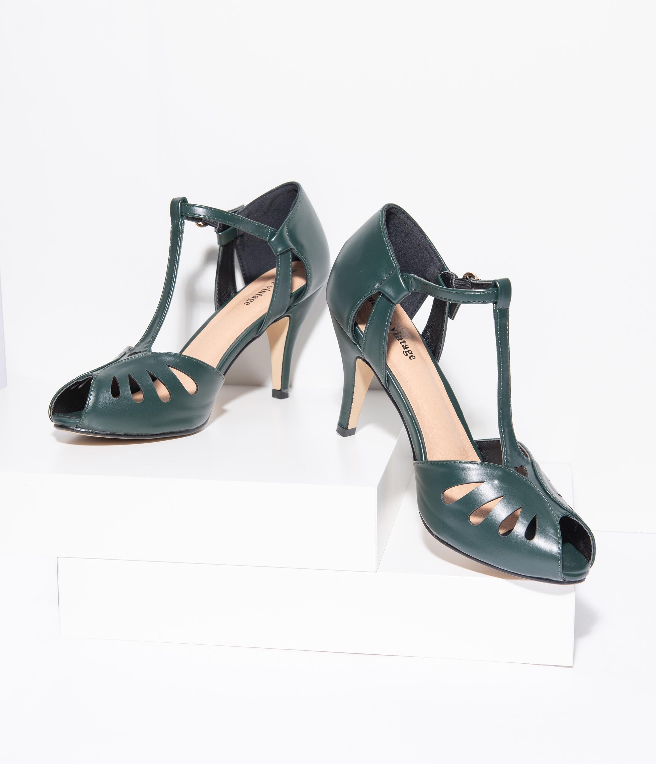 Vintage Heels, Retro Heels, Pumps, Shoes Unique Vintage Forest Green Leatherette Peep Toe T-Strap Everly Pumps $48.00 AT vintagedancer.com