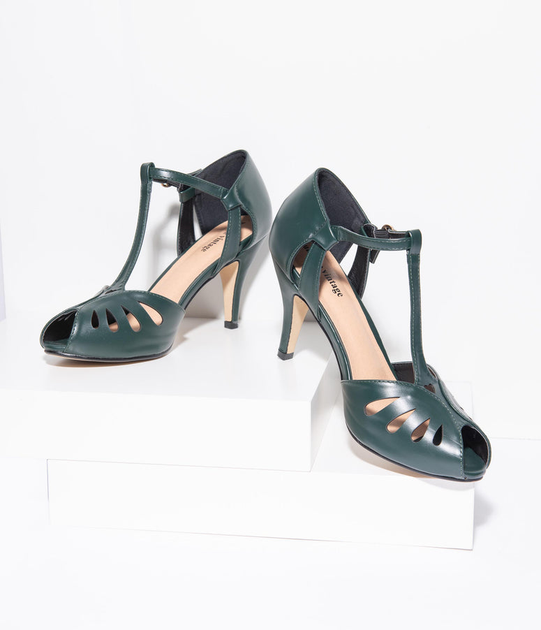 Unique Vintage Forest Green Leatherette Peep Toe T-Strap Everly Pumps
