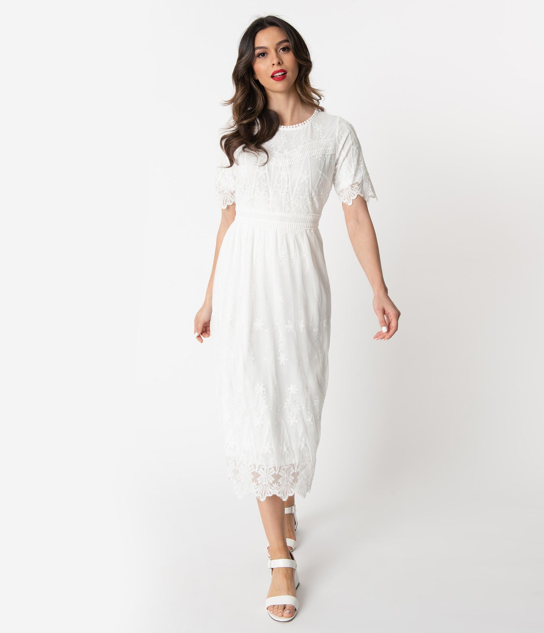 Old Fashioned Dresses | Old Dress Styles Vintage Style Ivory Embroidered Mesh Midi Dress $52.00 AT vintagedancer.com