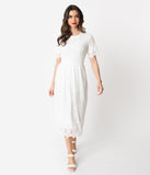 Vintage Style Ivory Embroidered Mesh Midi Dress