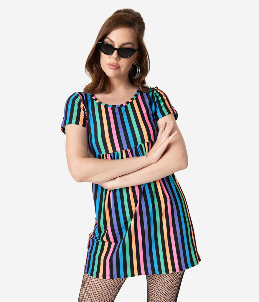 Rainbow Striped Short Sleeve Fit & Flare Dress