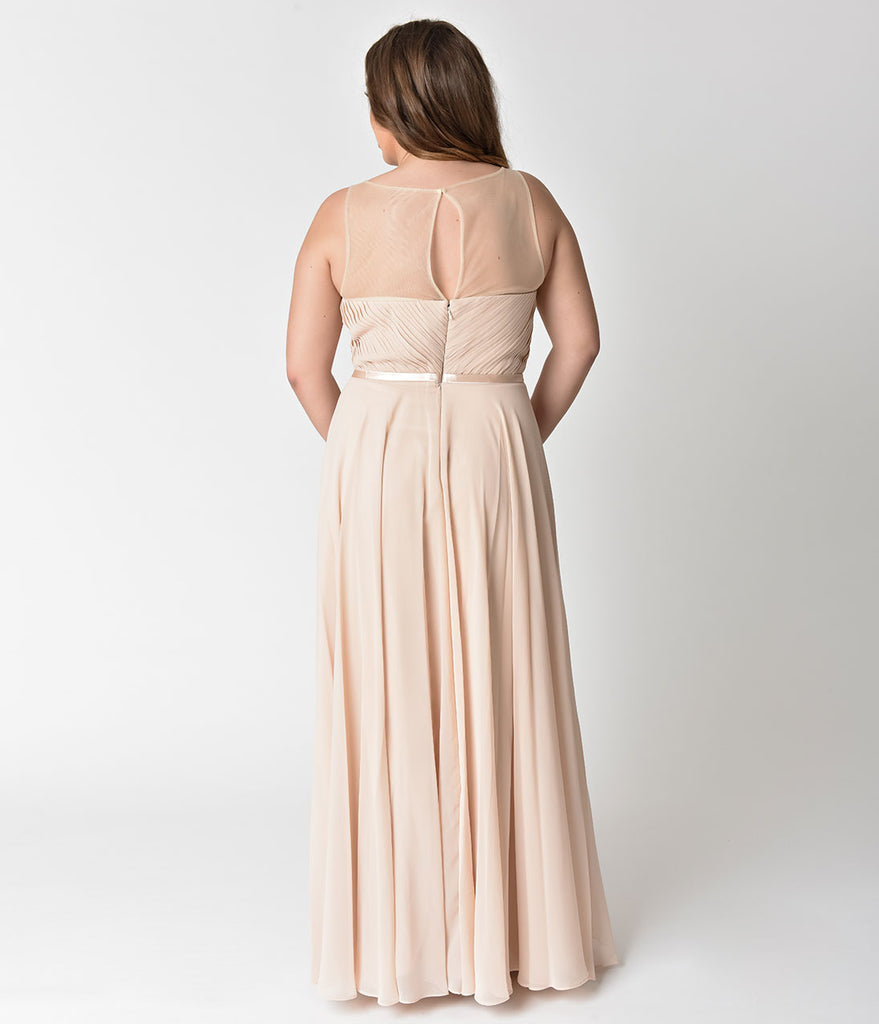 Beige Chiffon Illusion Sweetheart Long Gown