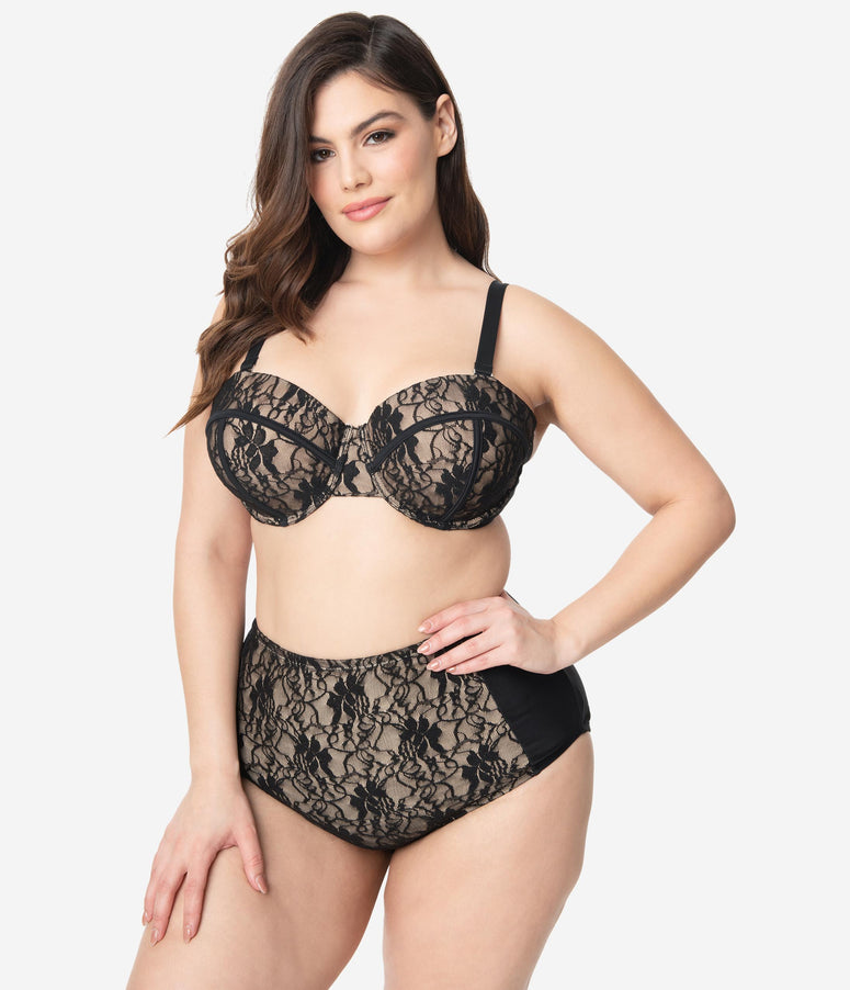 Unique Vintage Plus Size Black Lace & Beige Sweetheart Bandeau Charlene Swim Top