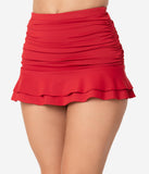 Unique Vintage Red Skirted High Waist Alice Swim Bottoms