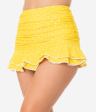 Unique Vintage Yellow & White Pin Dot Skirted High Waist Alice Swim Bottoms