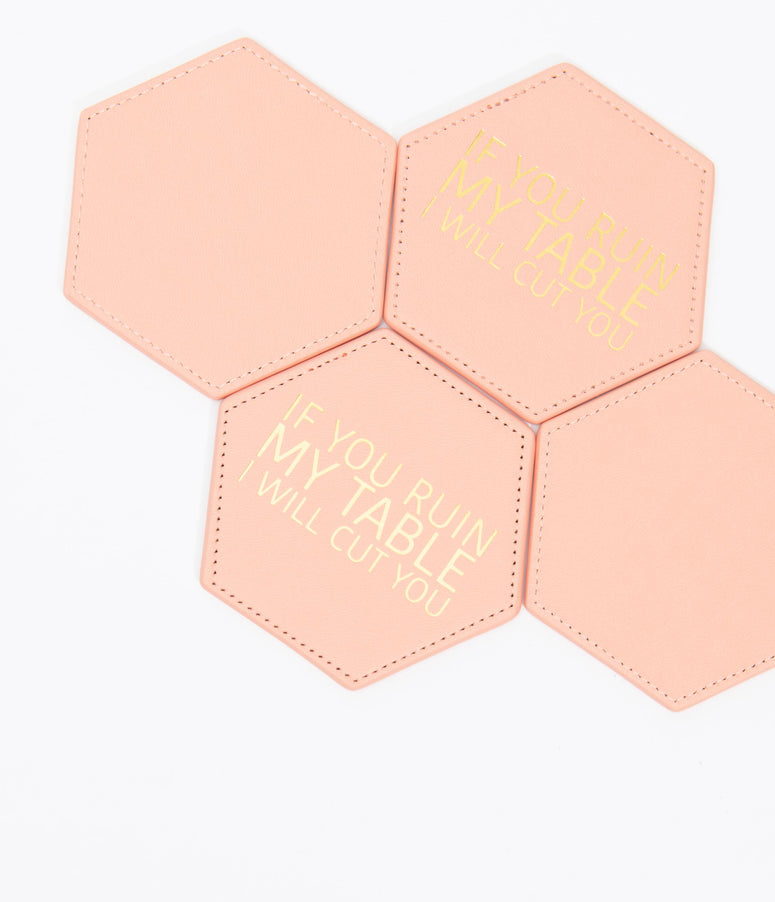 Pink Leatherette I Will Cut You Hexagon Coaster Set