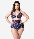 Unique Vintage Plus Size Navy & Pink Plaid Monroe High Waist Swim Bottom