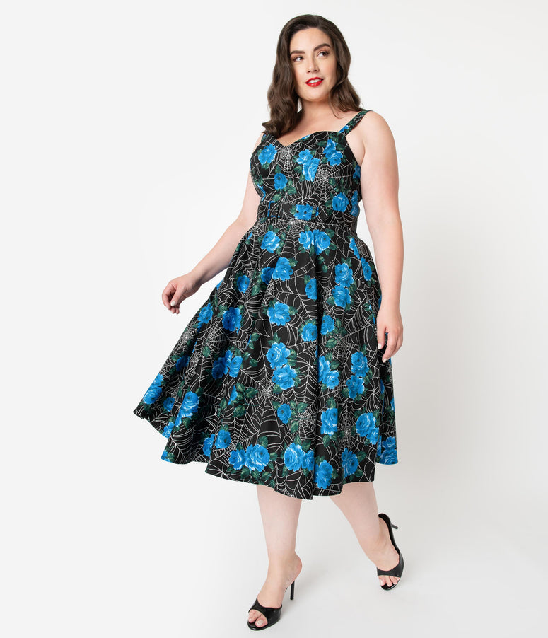 Vixen by Micheline Pitt Plus Size Black Spider Web & Blue Rose Sweetheart Swing Dress