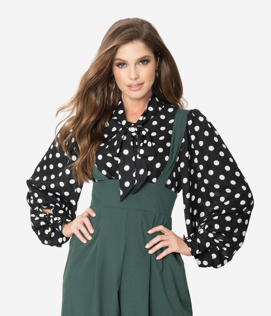 Unique Vintage Black & White Polka Dot Neck Tie Gwen Blouse