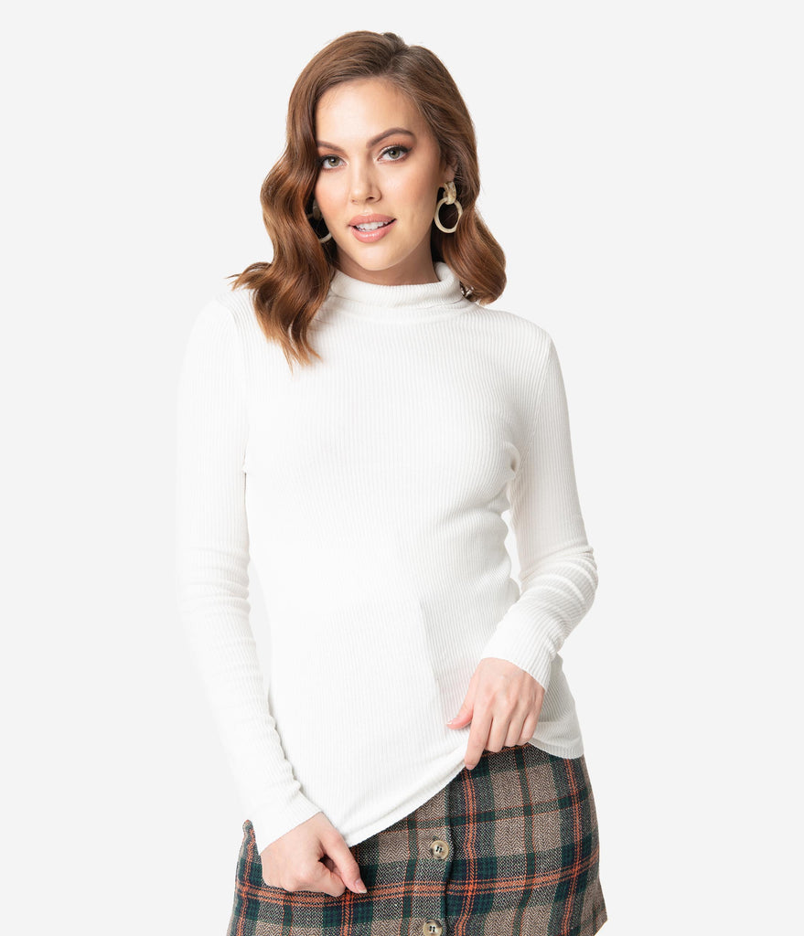 Hell Bunny Ivory Ribbed Turtleneck Spiros Top