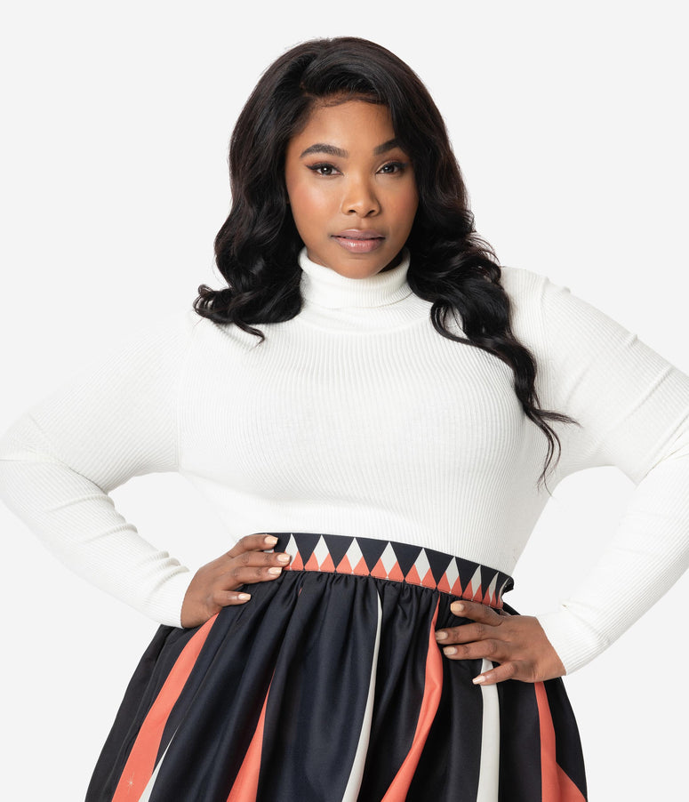 Hell Bunny Plus Size Ivory Ribbed Turtleneck Spiros Top