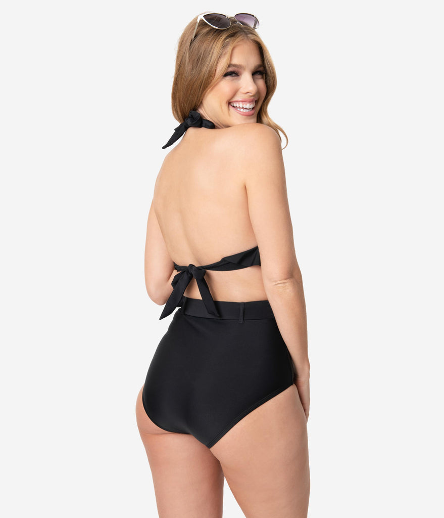 Unique Vintage Black Belted Retro Redondo Swim Bottoms