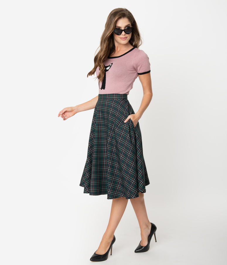 Hell Bunny 1950s Style Green Tartan High Waist Peebles Swing Skirt