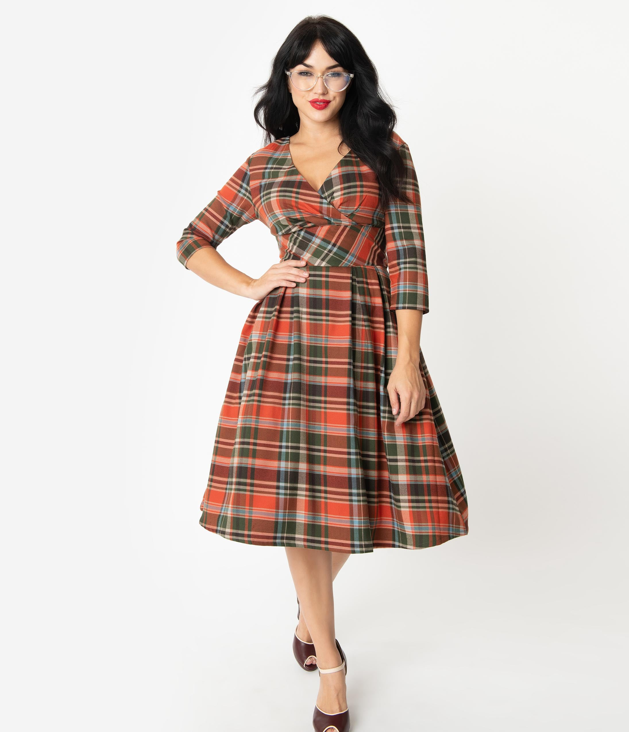 Fifties Dresses : 1950s Style Swing to Wiggle Dresses Hell Bunny 1950S Style Orange  Green Plaid Oktober Swing Dress $102.00 AT vintagedancer.com