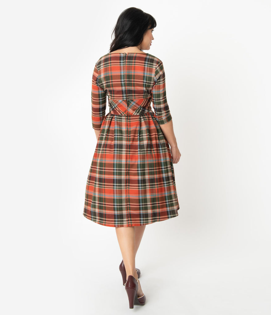 Hell Bunny 1950s Style Orange & Green Plaid Oktober Swing Dress