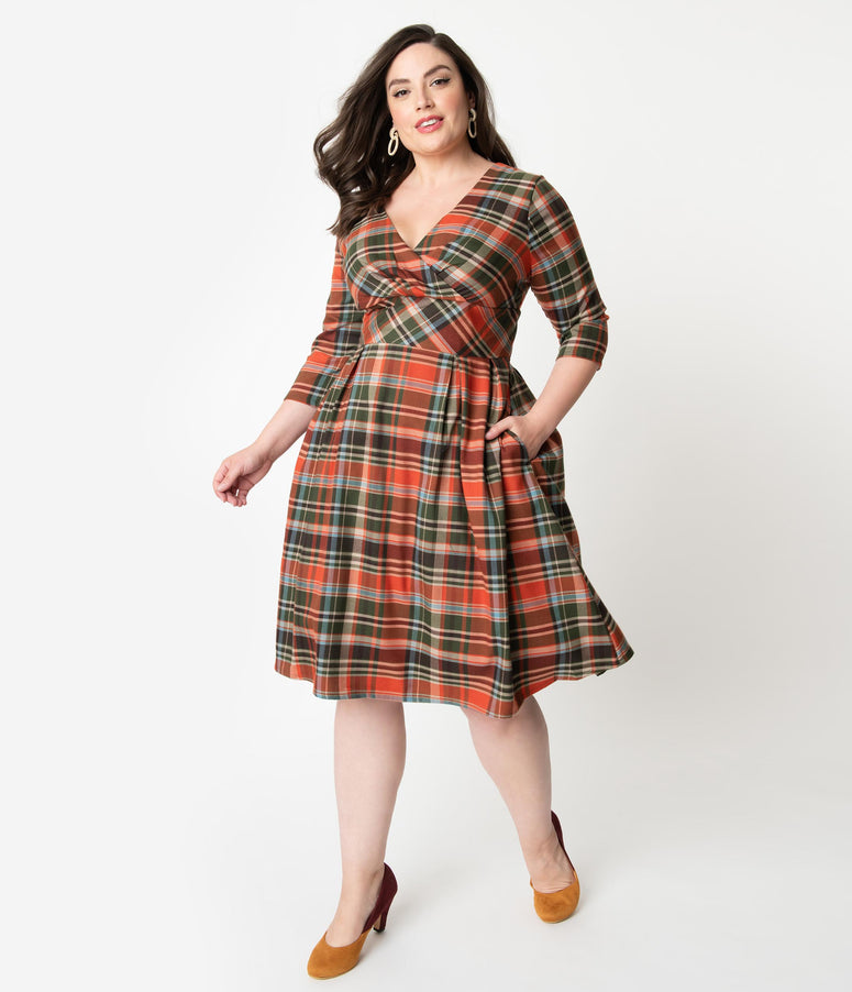 Hell Bunny Plus Size 1950s Style Orange & Green Plaid Oktober Swing Dress