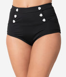 Unique Vintage Mrs. Cooper Black & White Heart Button Sailor Swim Shorts