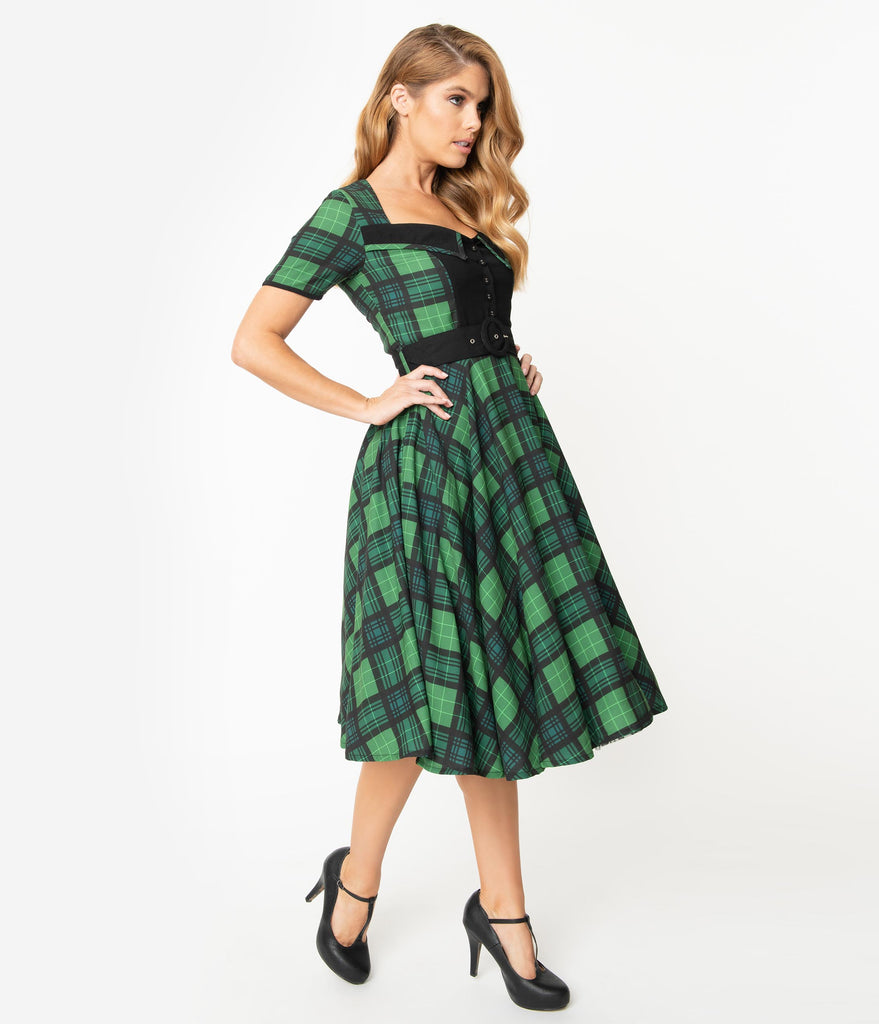 1950s Style Emerald Green Plaid Short Sleeve Dolly Swing Dress