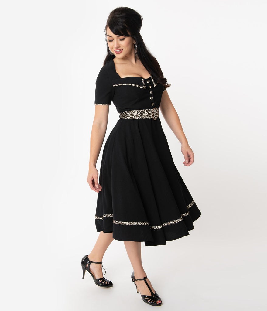 Retro Style Black & Leopard Trim Yael Swing Dress