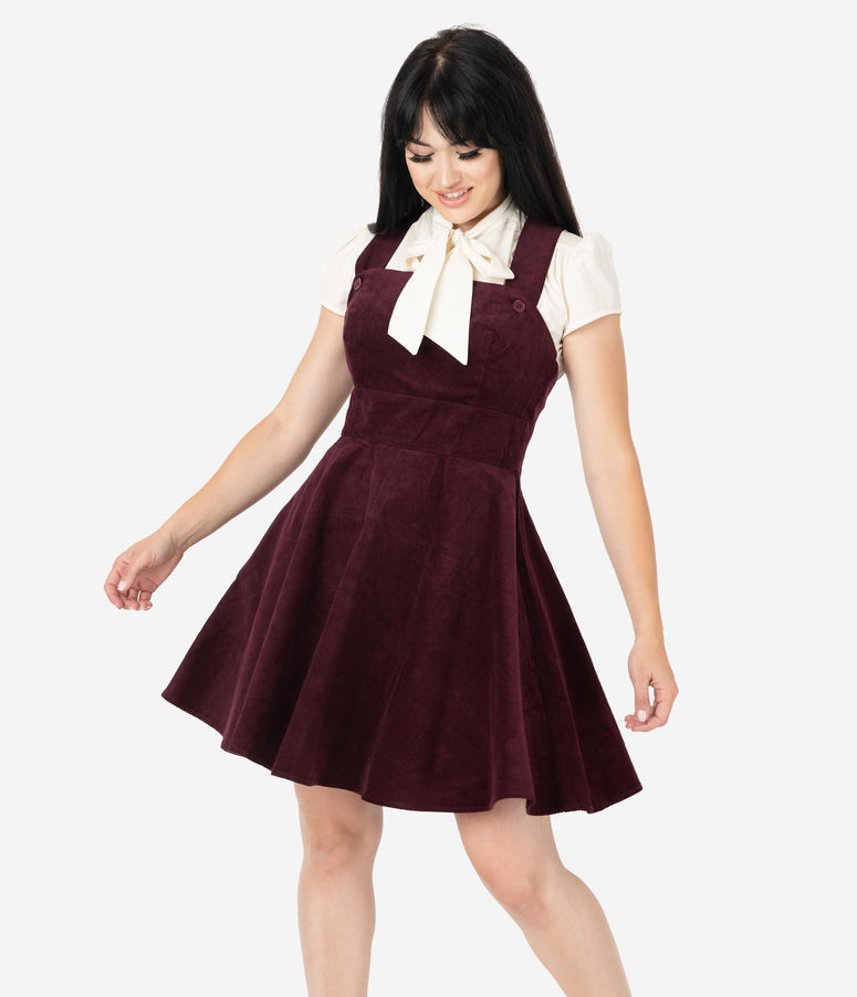 Hell Bunny 1960s Wine Red Corduroy Wonder Years Pinafore Dress