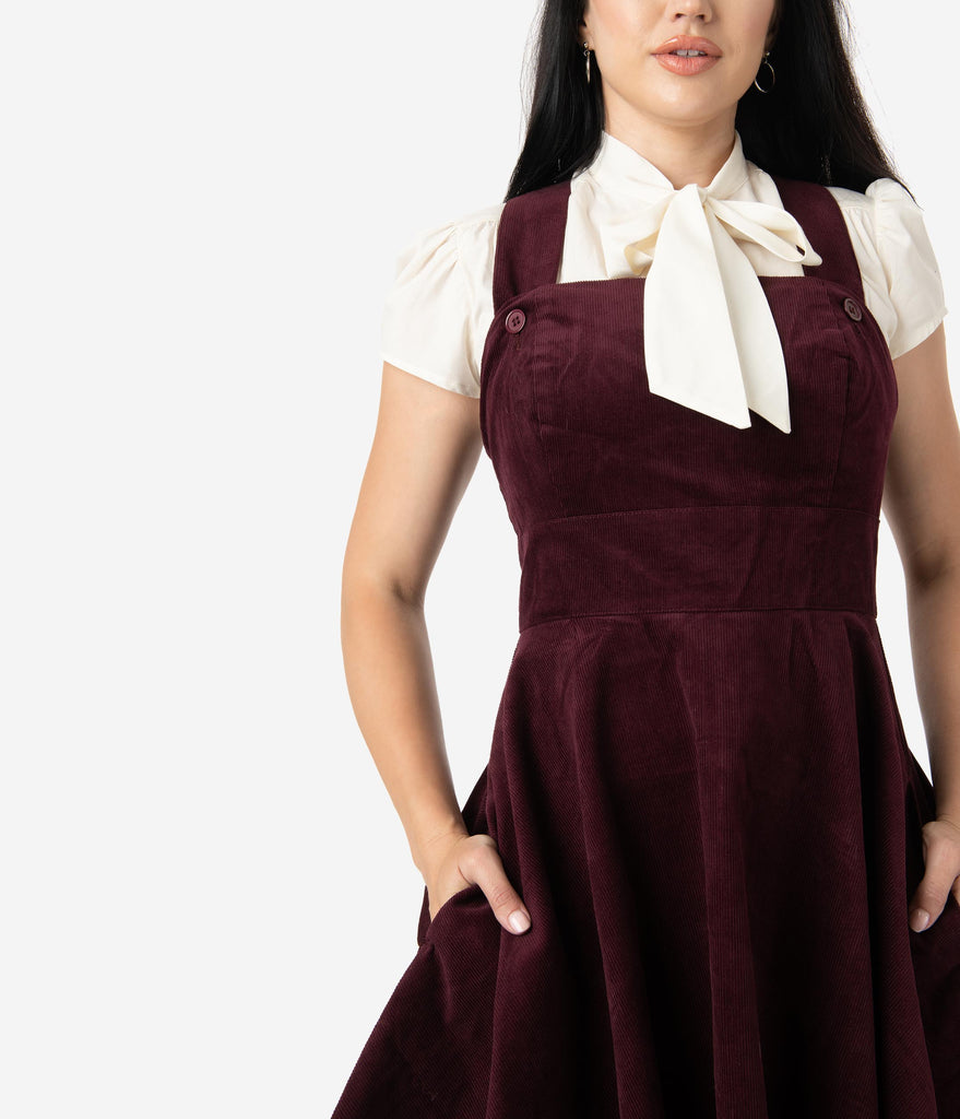 Wonder Years Dress Red Corduroy Hell Pinafore 1960s Bunny Wine f7vYgb6y