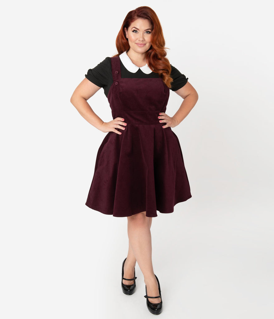 Hell Bunny Plus Size 1960s Wine Red Corduroy Wonder Years Pinafore Dress