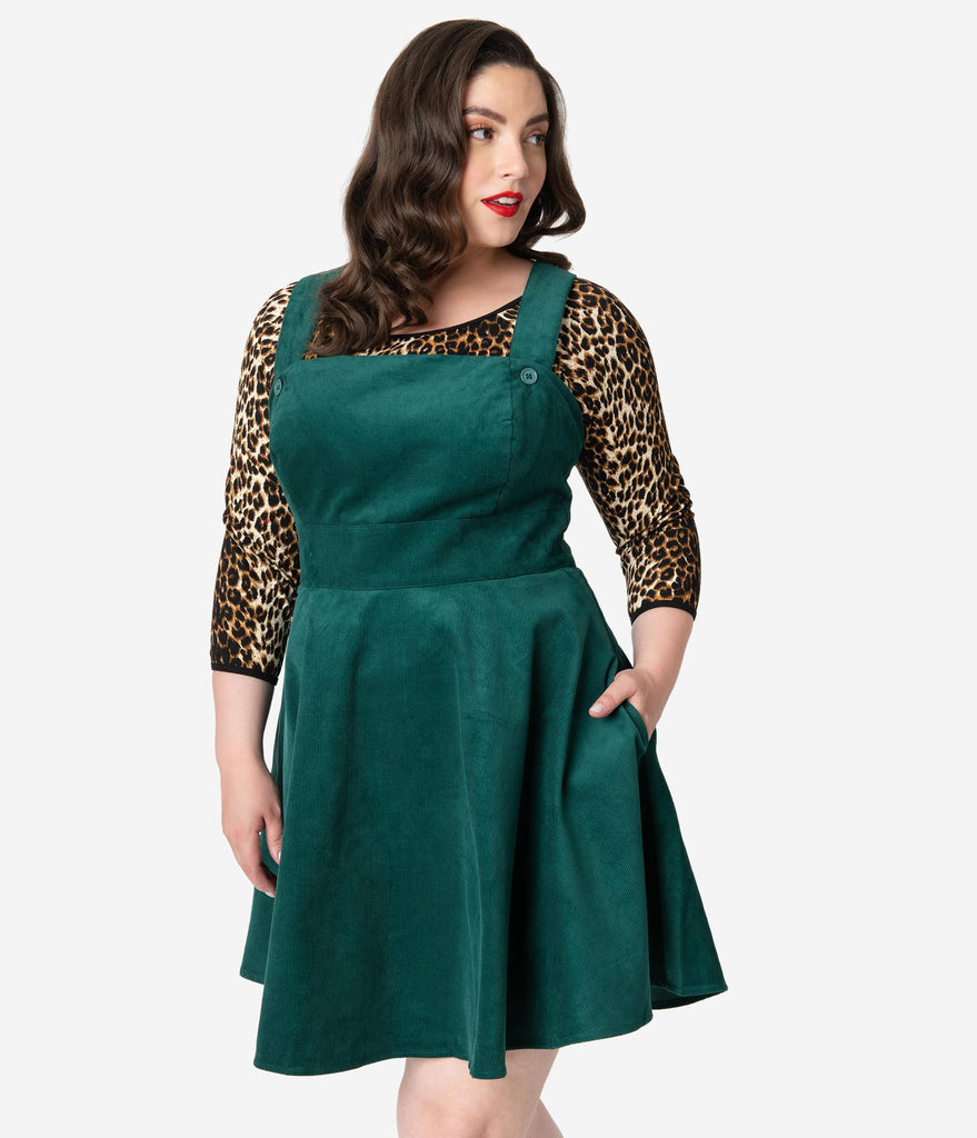 best outstanding features brand quality Hell Bunny Plus Size 1960s Dark Green Corduroy Wonder Years Pinafore Dress