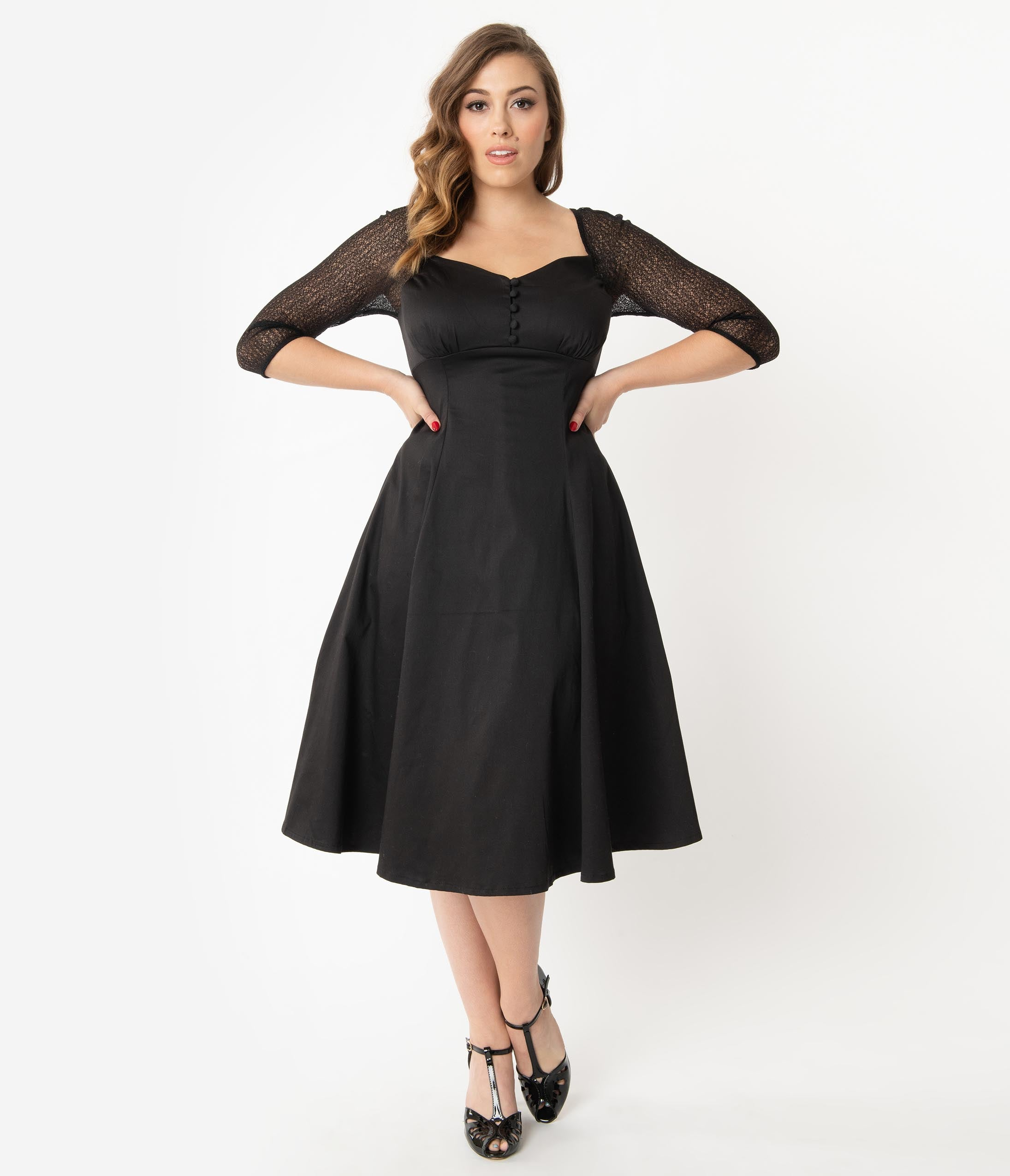 1940s Cocktail Dresses, Party Dresses Retro Style Black Charline Swing Dress $78.00 AT vintagedancer.com