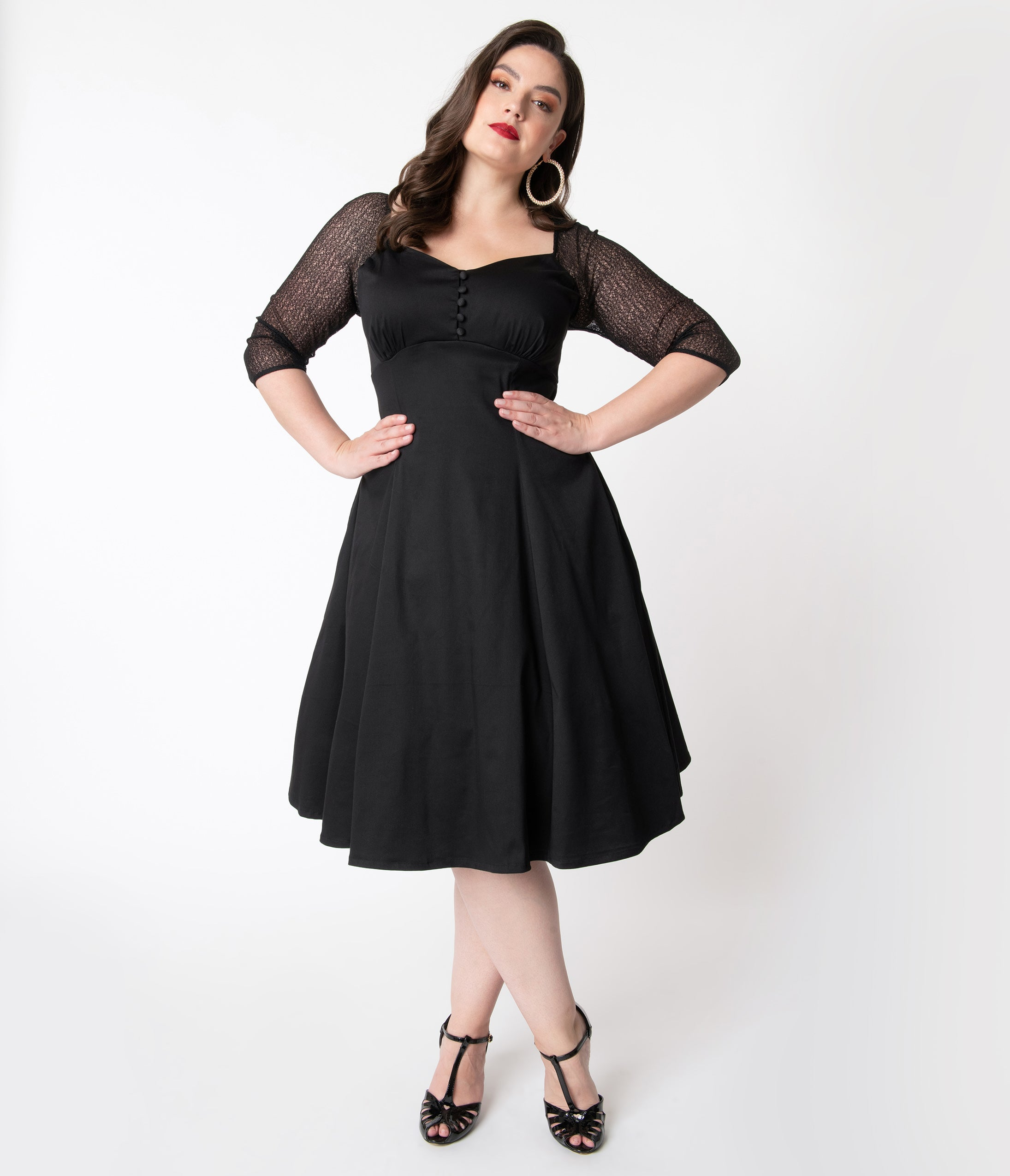 1940s Plus Size Dresses | Swing Dress, Tea Dress Retro Style Plus Size Black Charline Swing Dress $78.00 AT vintagedancer.com