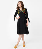 Black & Yellow Floral Embroidery Tiffany Swing Dress
