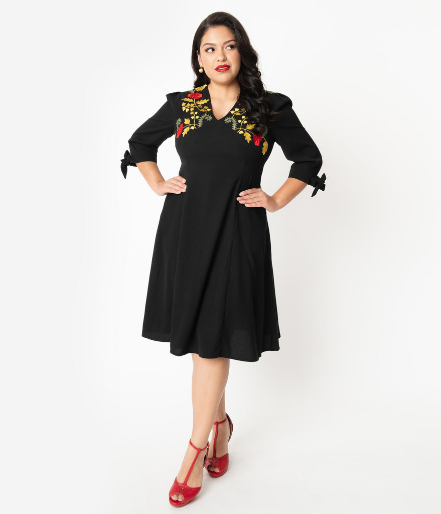 Plus Size Black & Yellow Floral Embroidery Tiffany Swing Dress