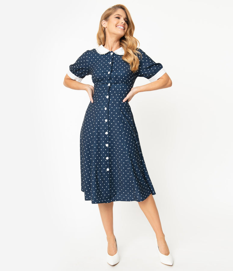1940s Style Navy Blue & White Polka Dot Raina Shirt Dress