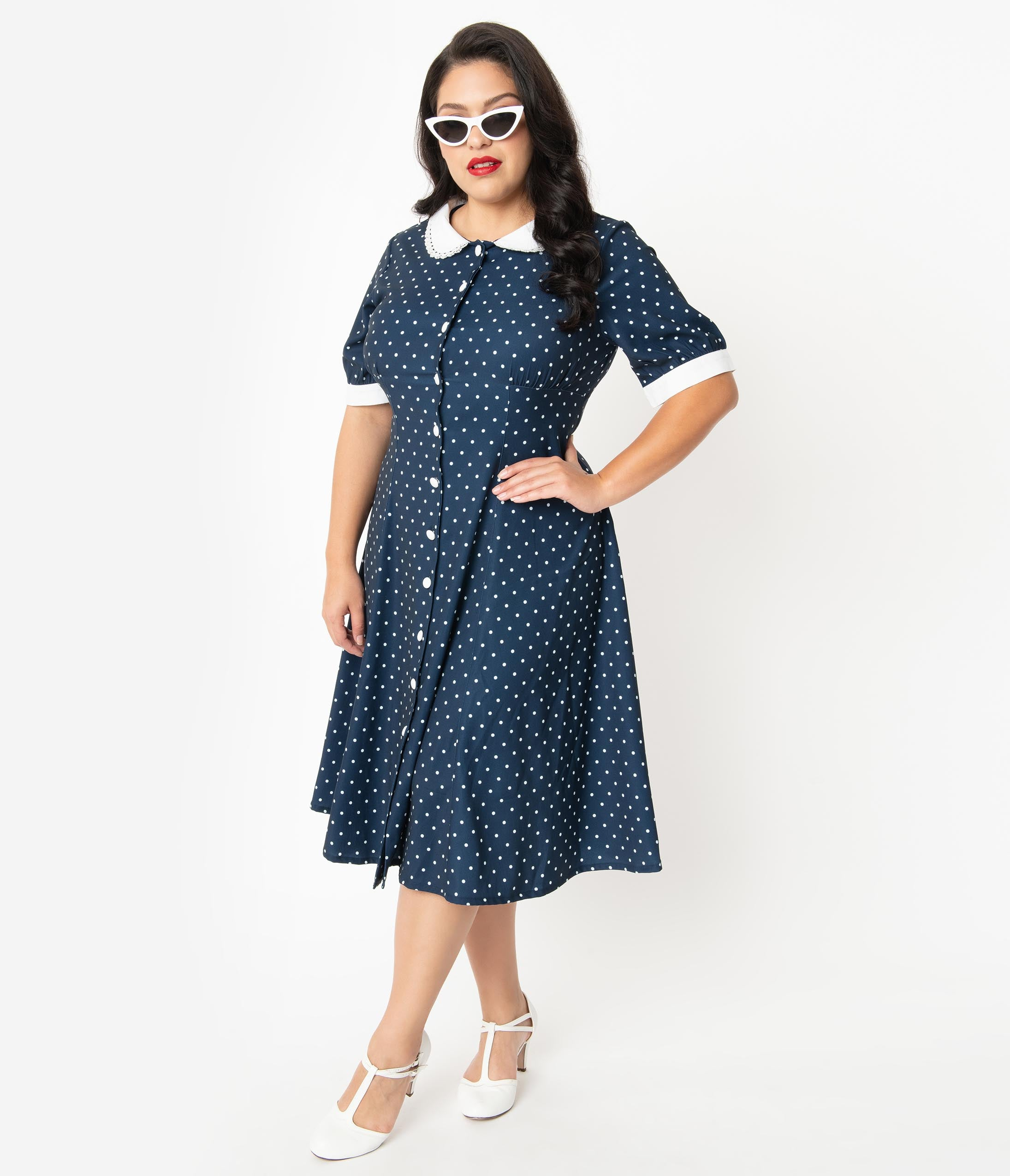 1940s Plus Size Dresses | Swing Dress, Tea Dress Plus Size 1940S Style Navy Blue  White Polka Dot Raina Shirt Dress $78.00 AT vintagedancer.com