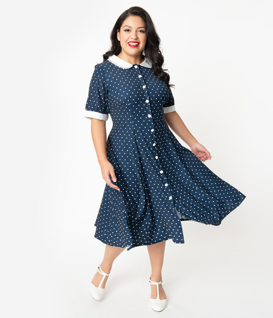 Plus Size 1940s Style Navy Blue & White Polka Dot Raina Shirt Dress
