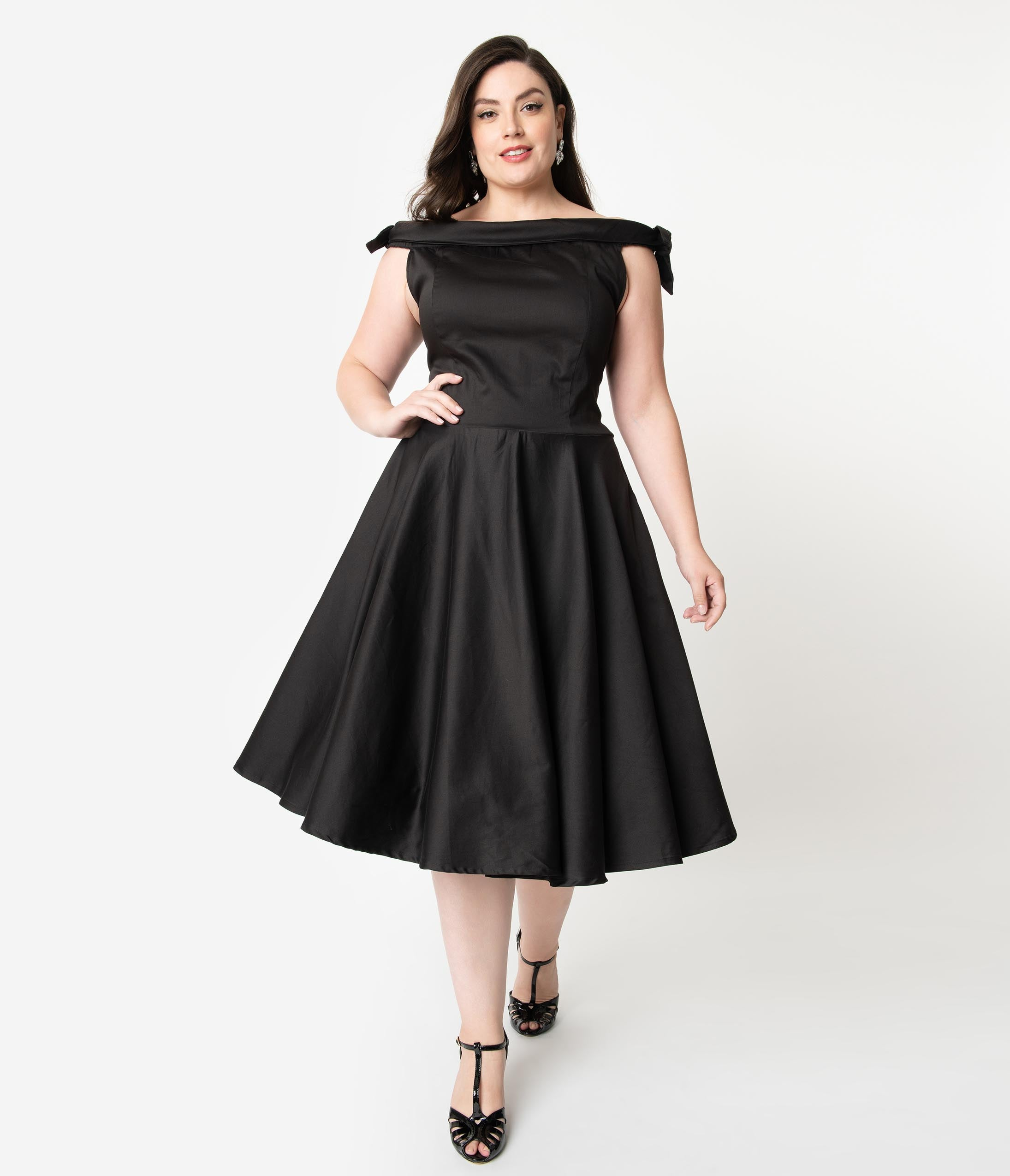 1950s Plus Size Dresses, Swing Dresses Plus Size 1950S Style Black Off Shoulder Mona Swing Dress $78.00 AT vintagedancer.com