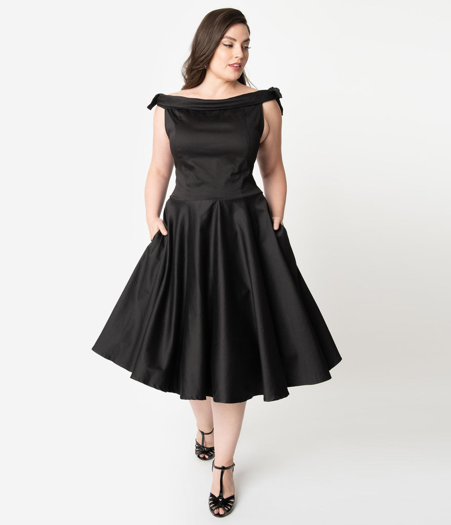 Plus Size 1950s Style Black Off Shoulder Mona Swing Dress