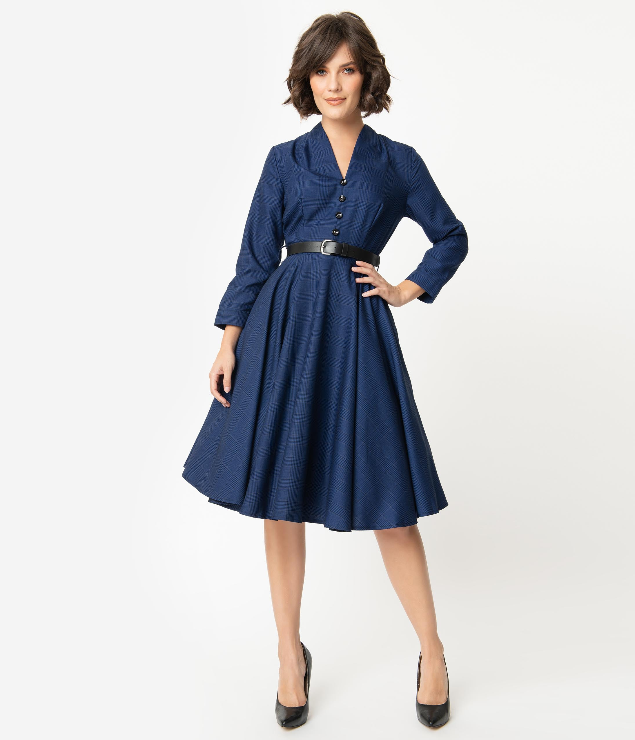 500 Vintage Style Dresses for Sale | Vintage Inspired Dresses 1950S Style Navy Glen Check Long Sleeve Helena Swing Dress $98.00 AT vintagedancer.com