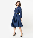 1950s Style Navy Glen Check Long Sleeve Helena Swing Dress