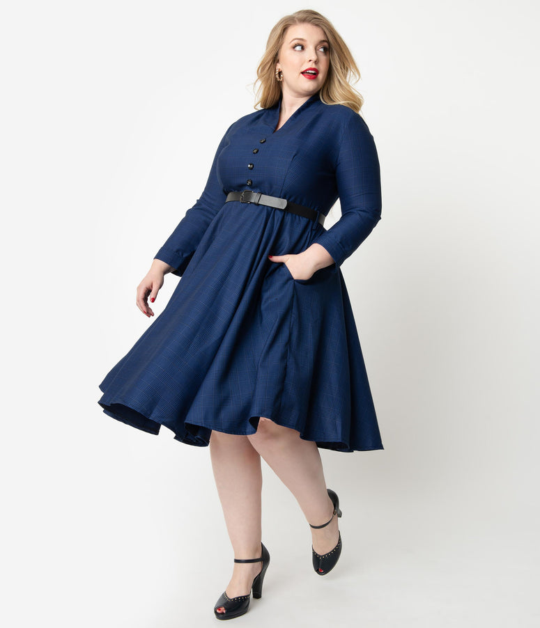 Plus Size 1950s Style Navy Glen Check Long Sleeve Helena Swing Dress